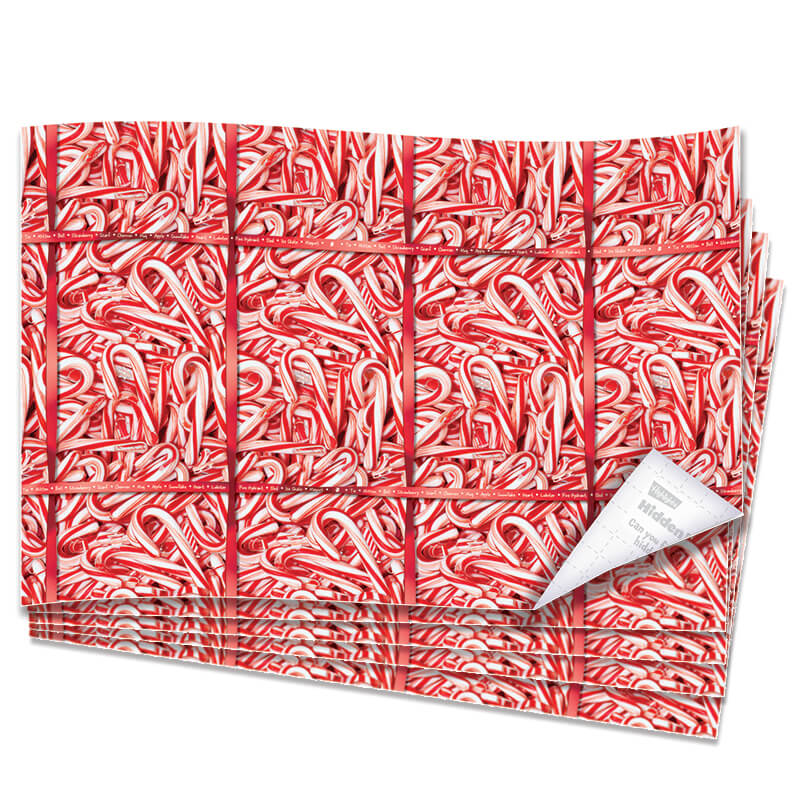 Hidden Pictures Candy Cane Wrapping Paper