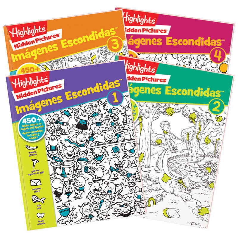 4 big books of Hidden Pictures® fun — in English and Spanish!