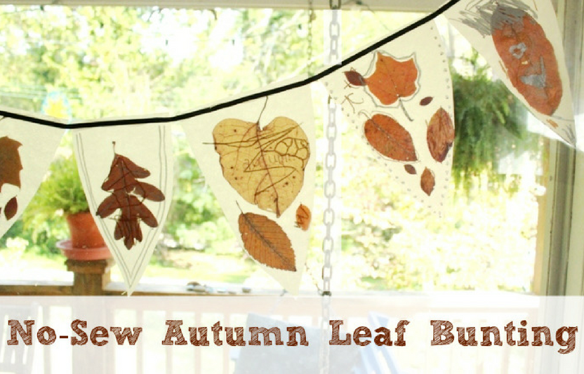 Press leaves between wax paper sheets to create this earthy autumn banner.