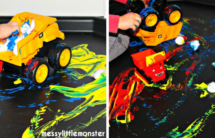 "Kids can use toy cars to mix colors and paint, then give them a ""carwash"" once they're finished!"
