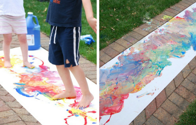 Roll out a sheet of butcher paper and let your kids stomp and stamp their feet with paint to create giant piece of art.