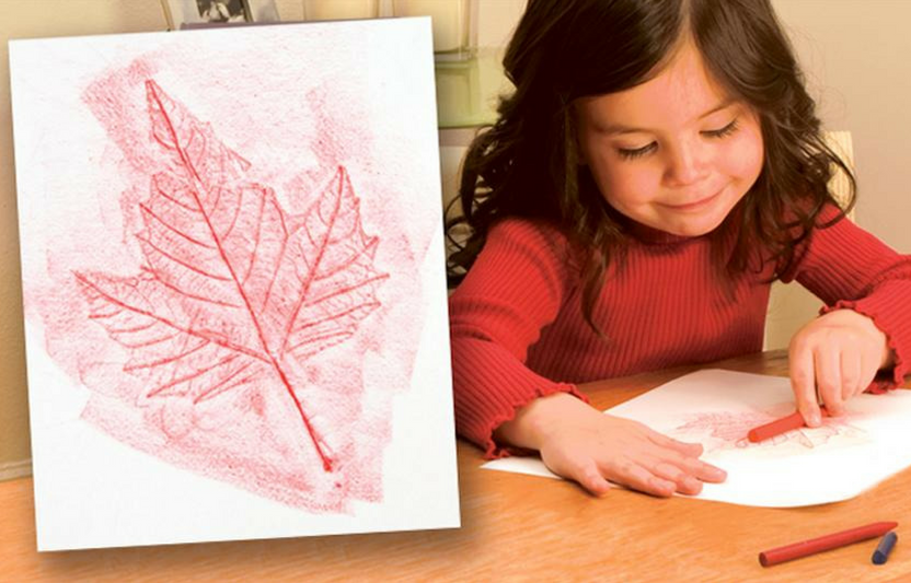 Lay paper over a fall leaf, rub the paper with a crayon, and make a leaf image emerge—almost like magic!