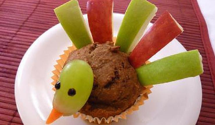 Turkey Shaped Pumpkin Muffins