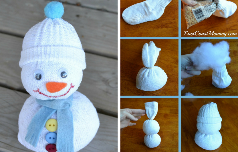 Transform a spare sock into a cute, soft snowman with this kid-friendly, no-sew technique.