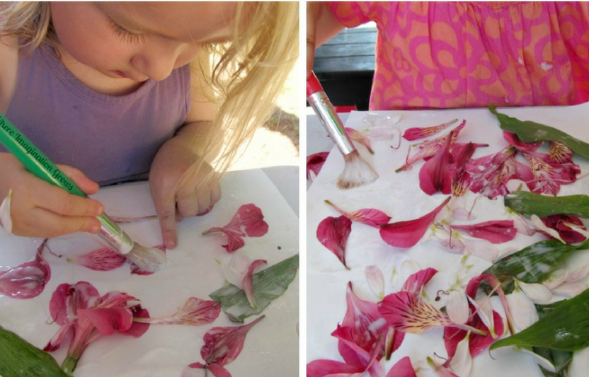 Combine exploring the outdoors with process art for a fun craft!