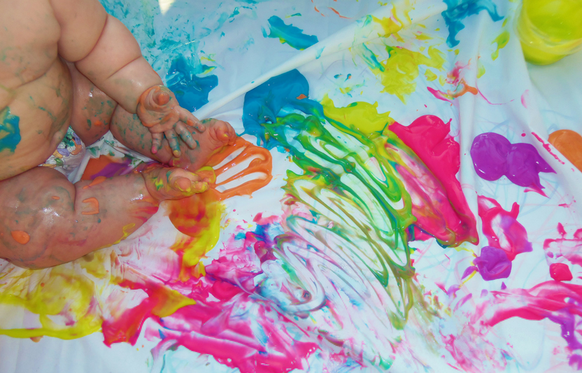 Mix together yogurt and a few drops of food coloring for a finger paint recipe that doubles as a yummy snack!