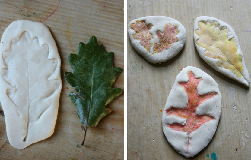 Whip up a batch of super-simple salt dough, then press to create leaf impressions.