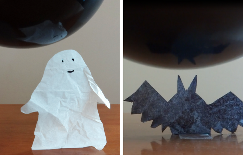 Wow your kiddos by using the power of static electricity to make tissue paper ghosts and bats dance!