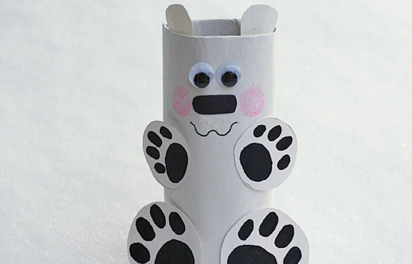 Recycle an empty cardboard tube into this cute polar bear pal!