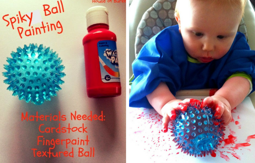 Coat a toy ball in paint, then let baby roll it around to discover what patterns it can make.