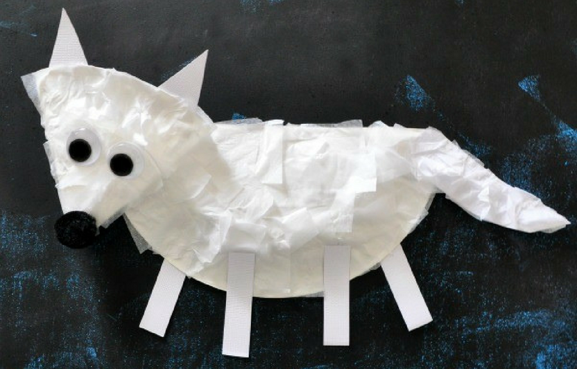 Kids can practice their scissor skills cutting strips of tissue paper for this fluffy arctic fox craft.