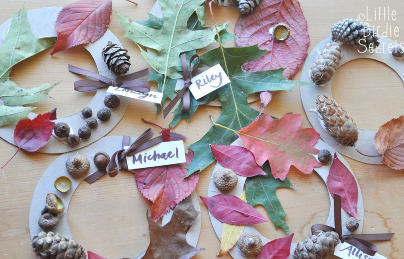 Go on a nature walk with the kids to collect materials for these festive wreaths.
