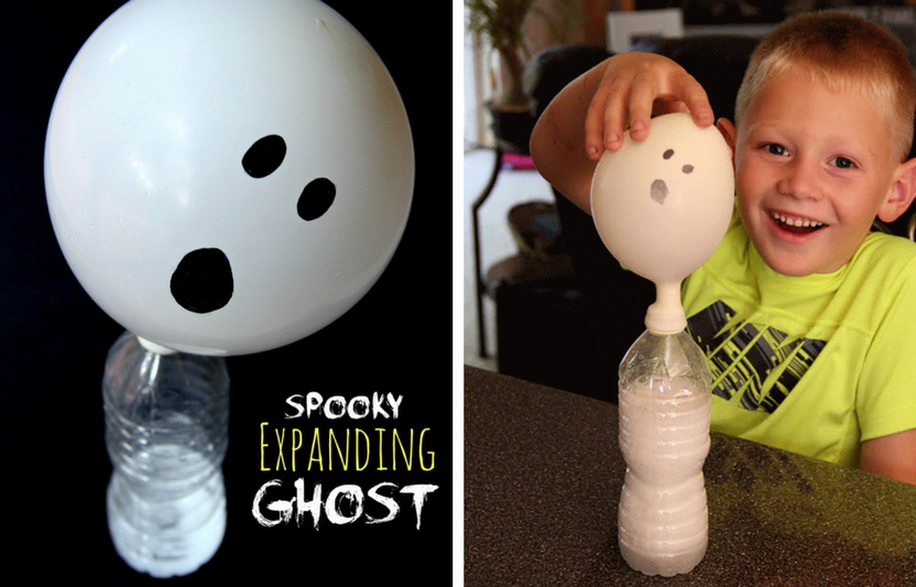 Mix baking soda and vinegar to make this ghost float!