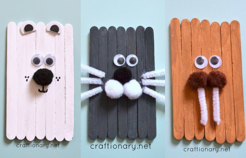 Paint craft sticks and add faces to make all sorts of arctic critters.