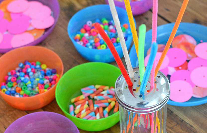 This open-ended craft involves cutting and beading, which makes for a fun way to practice fine and small motor skills!
