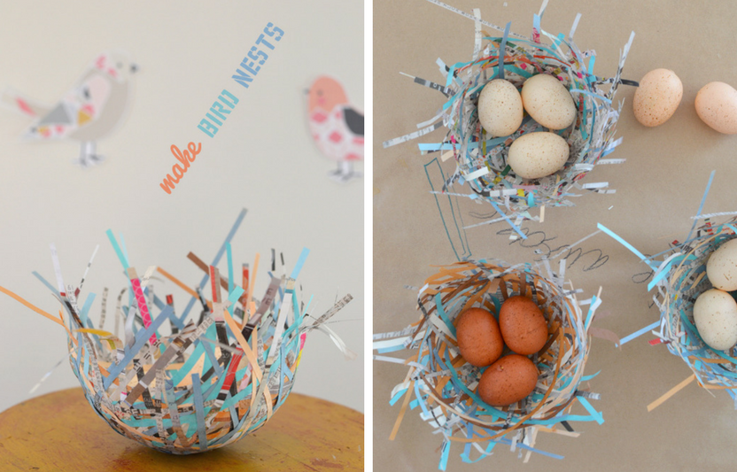 Recycle bits of paper to build this cute nest and use the opportunity to talk with your kids about how real birds' nests are made.