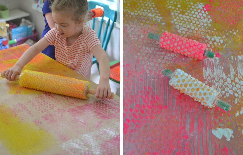 Kids can get totally hands-on with this bubble wrap rolling pin activity.