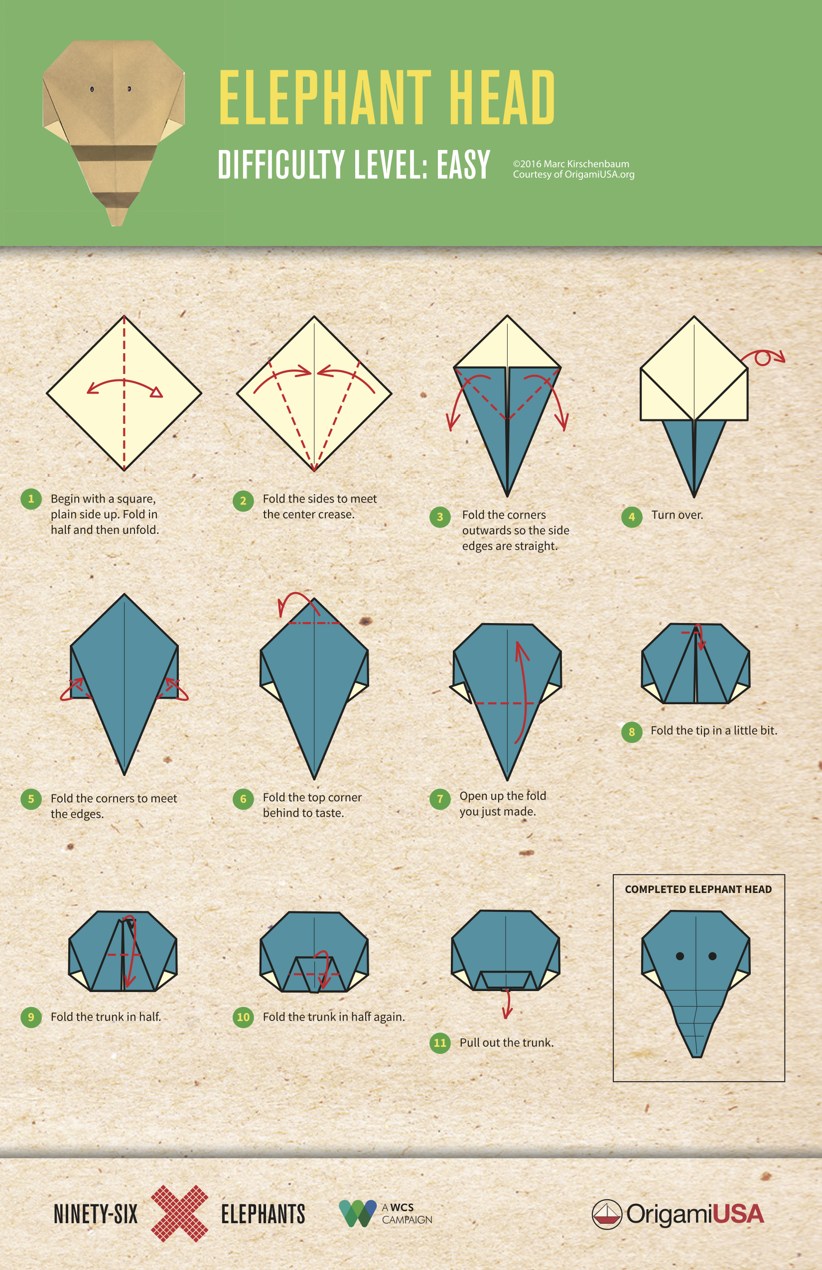 Origami elephant tutorial easy