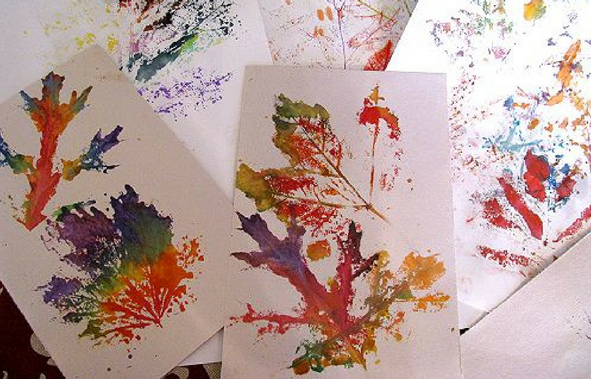 Use a rolling pin and paint to create these intricate leaf prints.