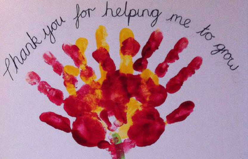 Kids can use their own handprints to create this from-me-to-you keepsake.