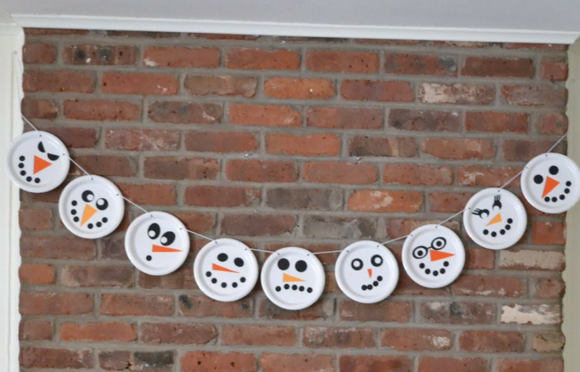 Planning a winter party? Your kids will have a blast decorating each snowman on the garland a different silly face.