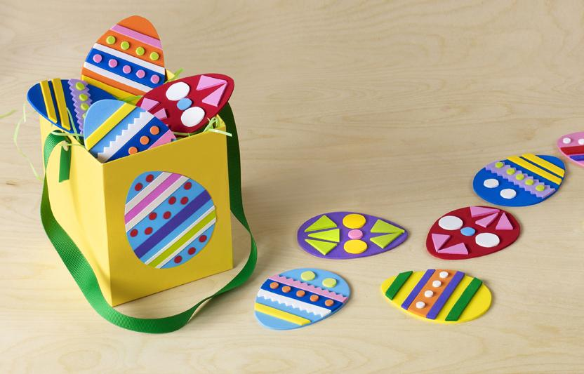 First, you decorate craft-foam eggs and then play a matching game to find them.
