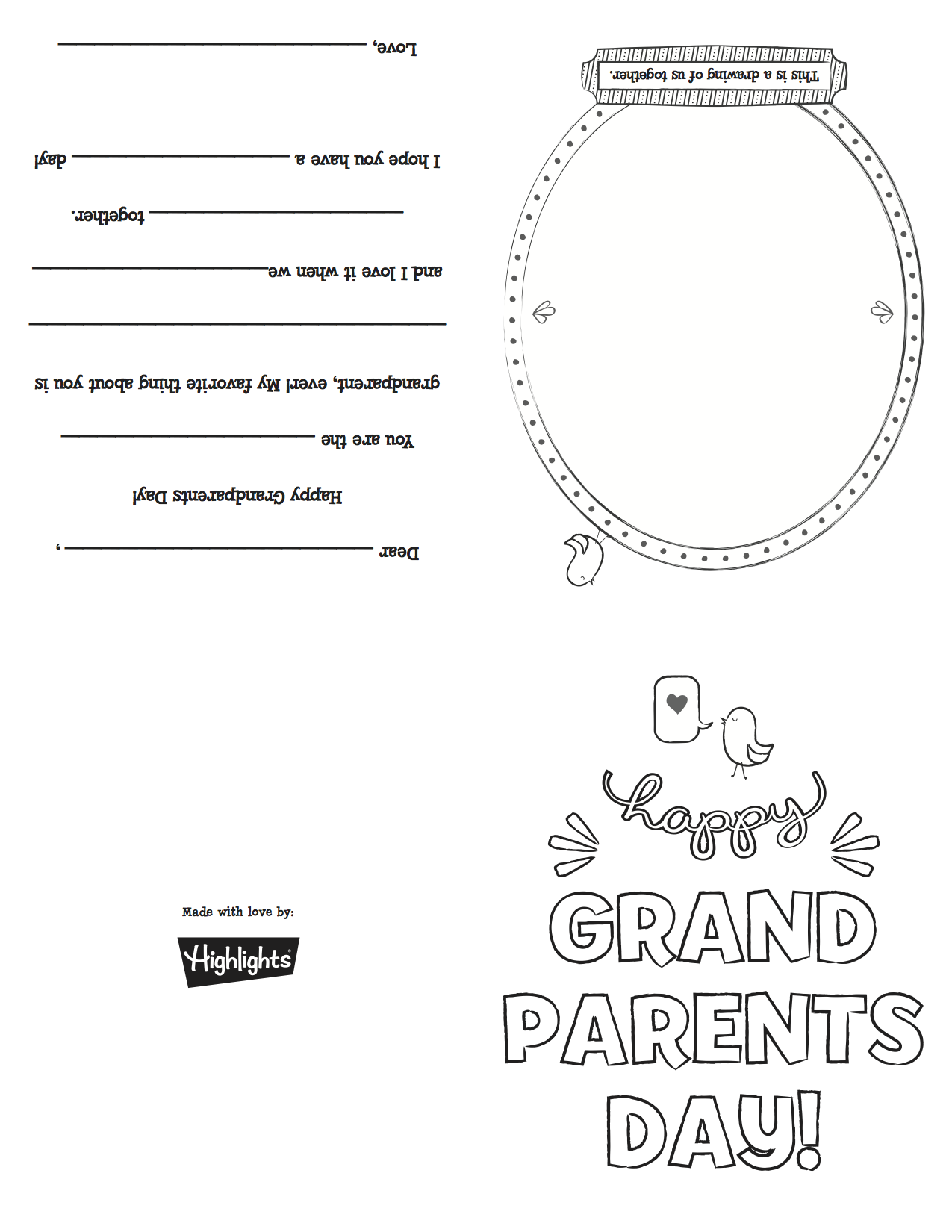 Follow the link to download this free printable coloring card for Grandparent's Day!