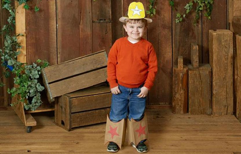 Costumes like these easy-to-make cowboy boots and hat are perfect for when your kid can't decide what to dress up as.