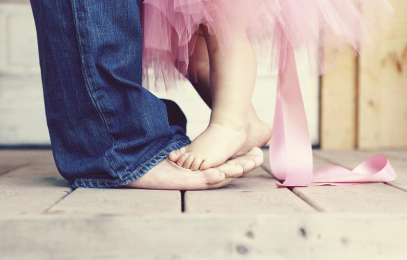 daughter dancing on dads toes