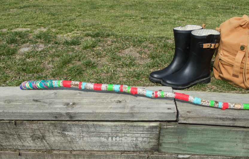 Awesome and bright, this colorful hiking stick is the perfect craft for spring days when there's slippery mud outside. It adds fun to your outdoor adventures, and kids will love the excitement of playing and balancing with their new prop.