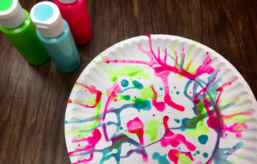 Spinning a plate to make art? Yes! It's the unexpected that kids will love about this craft.