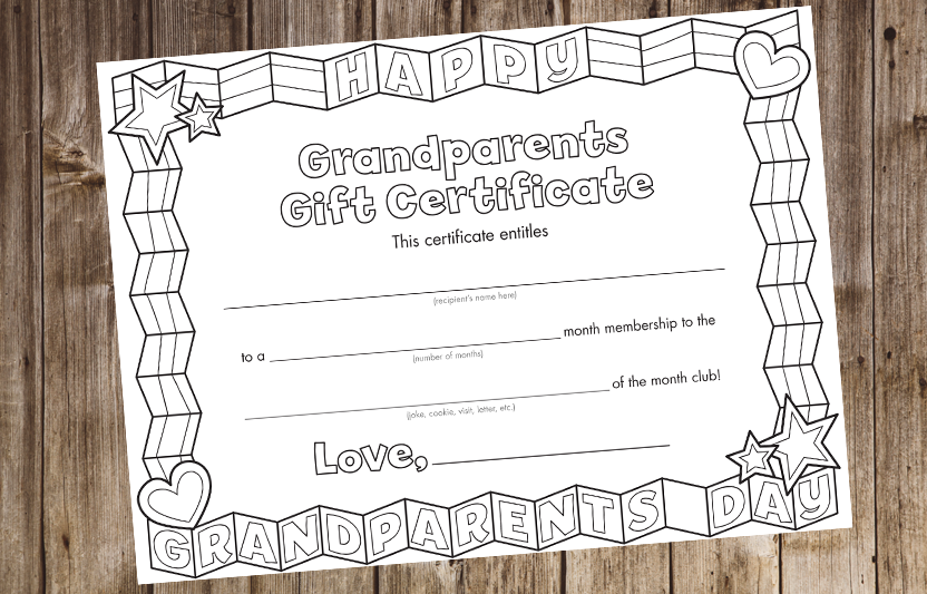 Grandparents day certificate highlights for children with this printable gift certificate kids can enroll their grandparents in a hug joke pronofoot35fo Gallery