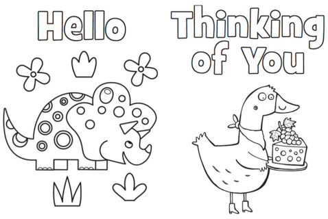 photo relating to Printable Coloring Cards titled Printable Thank Oneself Playing cards Highlights