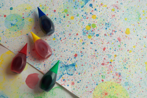 our kids will love to watch the colored bubbles as they float in the air—and also when they pop on the plain paper!