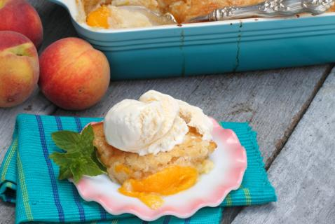 Let your kids discover the peachy perfection of a yummy fruit cobbler—with a scoop of vanilla ice cream on top!