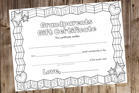 With this printable gift certificate, kids can enroll their grandparents in a hug, joke, or letter of the month club!